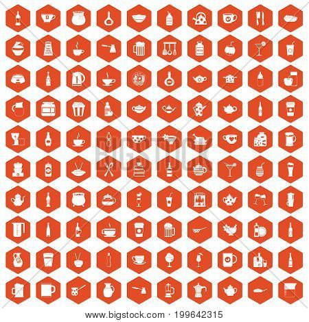 100 utensil icons set in orange hexagon isolated vector illustration