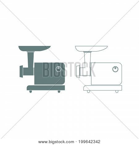 Electric Meat Mincer Grey Set Icon .