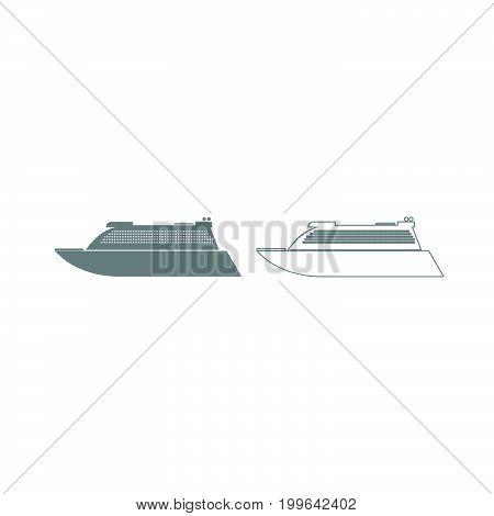 Transatlantic Cruise Liner Grey Set Icon .