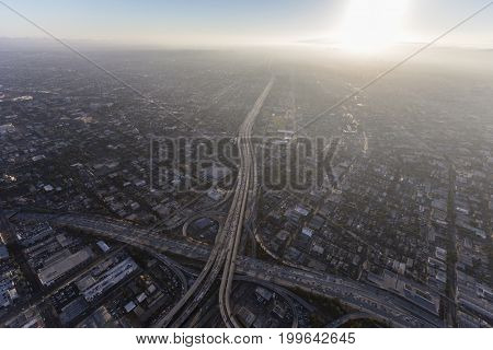 Aerial view of Santa Monica 10 freeway and summer afternoon smog near downtown Los Angeles, California.