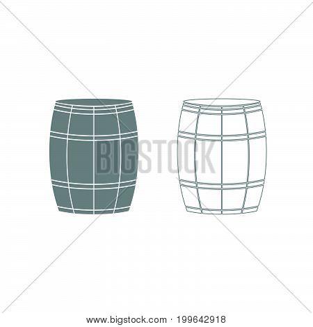 Wine Or Beer Barrels Grey Set Icon .
