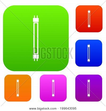 Fluorescence lamp set icon in different colors isolated vector illustration. Premium collection