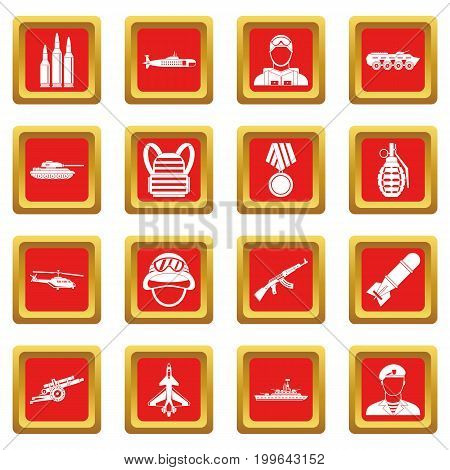 War icons set in red color isolated vector illustration for web and any design