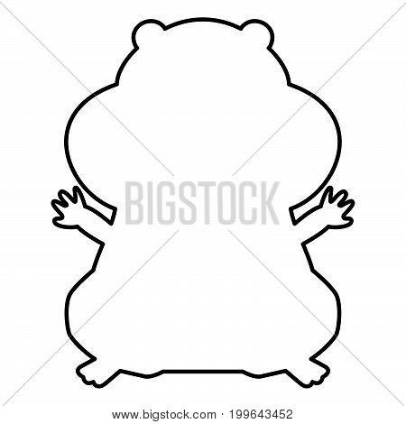 Hamster Silhouette Black Color Icon .
