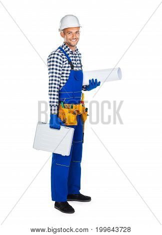 Side View Of Happy Construction Worker In Uniform With Toolbox And Drawings