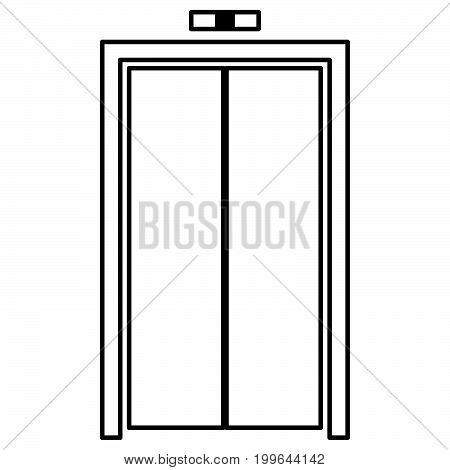 Elevator Doors Black Color Icon .