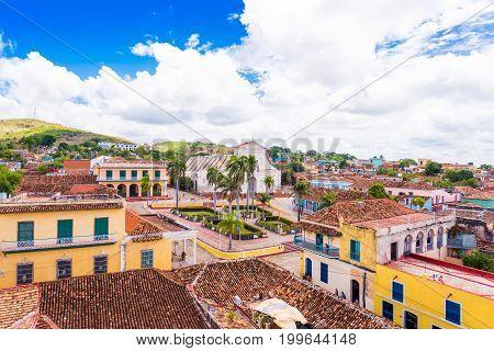 View of the city Trinidad Sancti Spiritus Cuba. Сopy space for text.