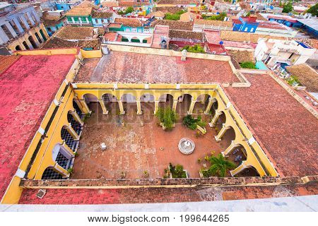 View of Museo Historico, Trinidad, Sancti Spiritus, Cuba. Сopy space for text. Top view.
