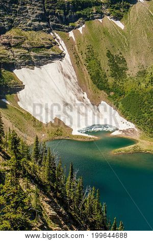 The Glaciar lake along Acamina trail in Waterton Lakes NP, Alberta, Canada