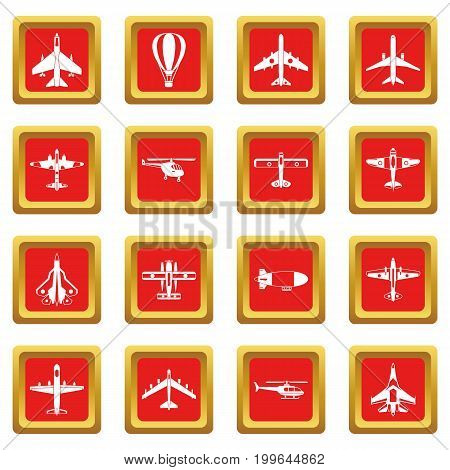 Aviation icons set in red color isolated vector illustration for web and any design