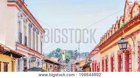 View of Colonial streets of in San Cristobal de las Casas