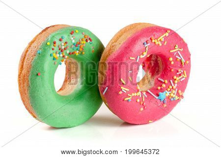 two glazed donut isolated on white background.