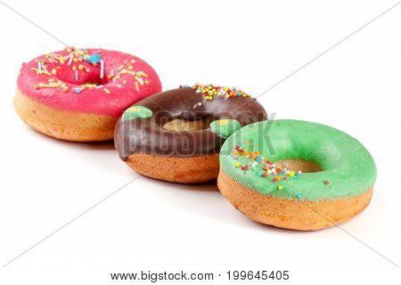 three glazed donut isolated on white background.