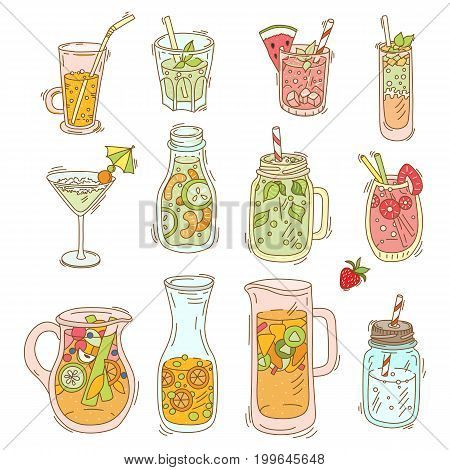 Set of different cocktail and smoothie. Detox for health. Bar menu. Vector illustration