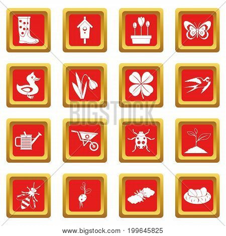 Spring icons set in red color isolated vector illustration for web and any design