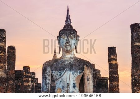 Detail Of Sitting Buddha At Colorful Sunset, Sukhothai, Thailand