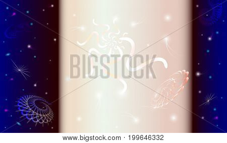 Abstract space background with a pillar of light flying shapes stars comets
