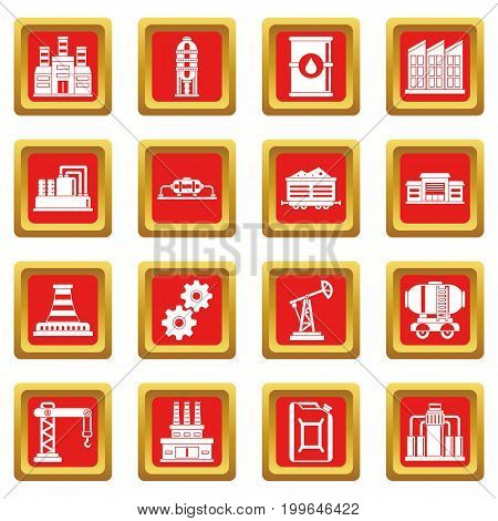 Industry icons set in red color isolated vector illustration for web and any design