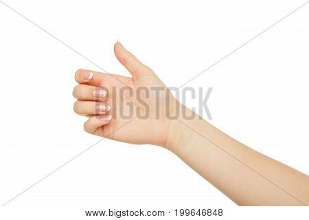 Female hand holding card, phone or other, close-up, cutout, isolated on white background.