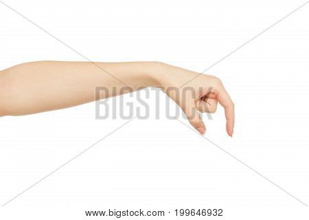 Female hand making gesture while grab some items isolated on white background, close-up, cutout, copy space