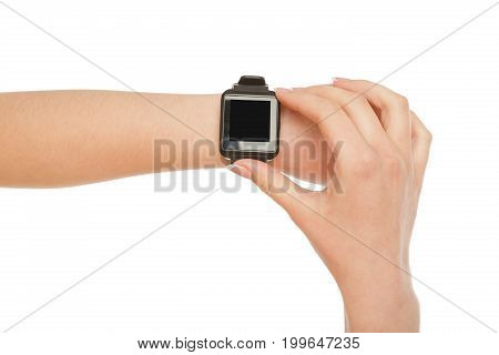 Female hand with smart watch with blank screen isolated on white background, close-up, cutout, copy space on the screen