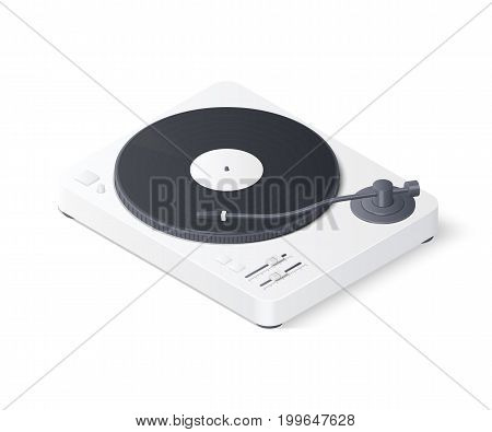3D white realistic turntable isolated on white background. Isometric vector illustration