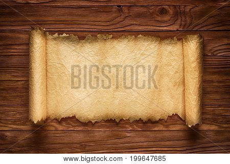 Unfolded Scroll On A Wood Table, Old Paper Texture, Background