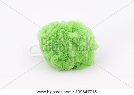 Soft Green Bath Puff Or Sponge Isolated On White Background