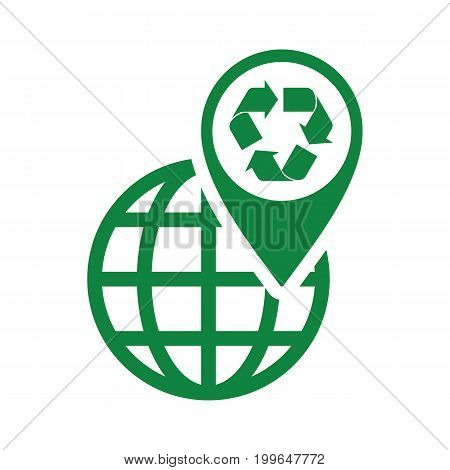 Recycle Icon Green World Pin