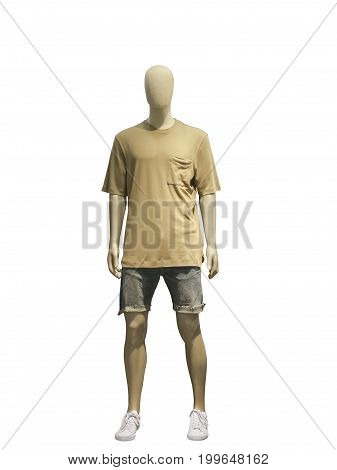 Male mannequin dressed in casual clothes (t-shirt and shorts) isolated on white background. No brand names or copyright objects.