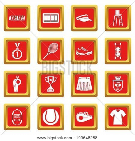 Tennis icons set in red color isolated vector illustration for web and any design