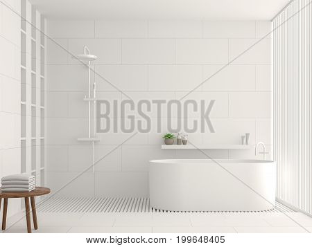 Modern white bathroom interior 3d rendering image. There are white tile white brick pattern on walls and floor. Decorated with white laths.