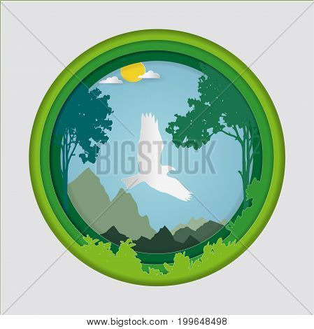 Paper art carve of bird on sky in forest background, Origami concept nature and animals idea, Symbol of abundance of nature, Vector illustration Paper art style.