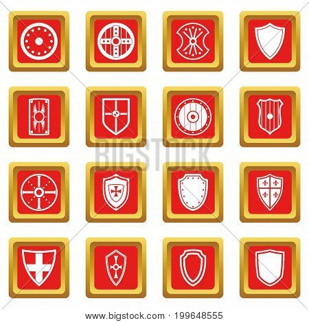 Shield frames icons set in red color isolated vector illustration for web and any design