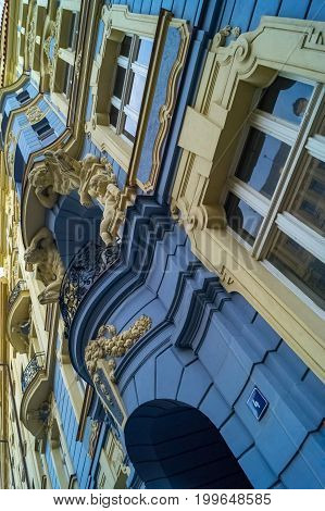 Views and sights of Prague. Facade in Prague. Prague Castle and historical architecture. Concept of Europe travel, sightseeing and tourism.