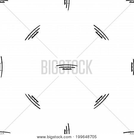 Katana, Japanese sword pattern repeat seamless in black color for any design. Vector geometric illustration