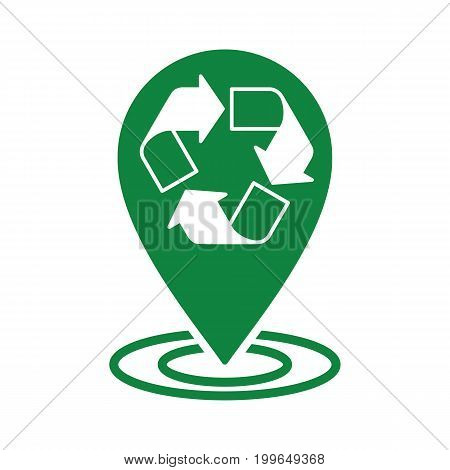 Recycle Icon Green Pin Half Transparent