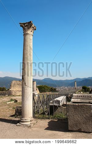 Ancient columns and ruins of Pompeii, Italy, Europe
