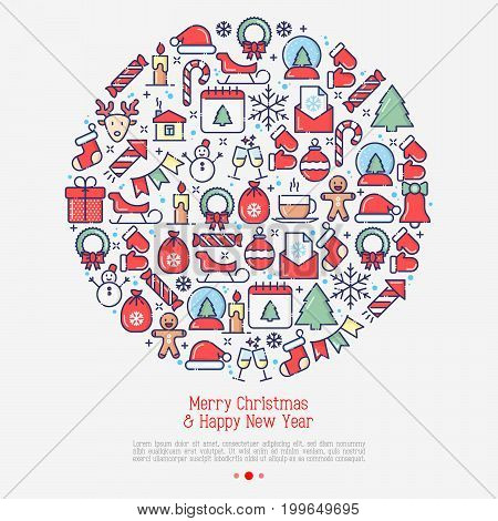Merry Christmas celebration concept in circle with thin line New Year and Christmas symbols for web page, banner, invitation, greeting card, print media. Vector illustration.