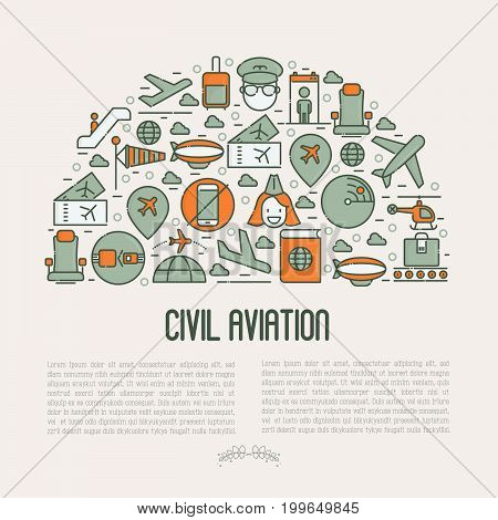 Civil aviation concept contains thin line icons related to airport and tourism. Vector illustration for banner, web page, print media.