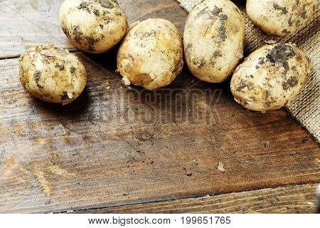 Young unwashed potatoes scattered on a wooden brown background space for text