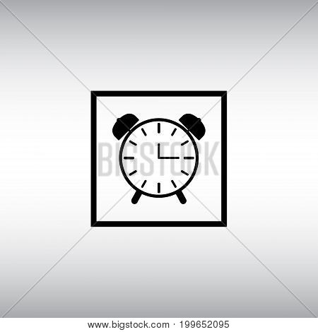 Alarm clock isolated vector sign. Alarm clock flat vector icon. Alarm clock square button.