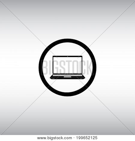 Laptop flat vector icon. Laptop isolated vector sign. Personal computer vector illustration. PC round button.