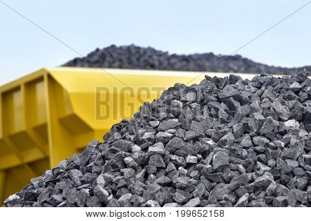 Heap of raw materials crushed stones