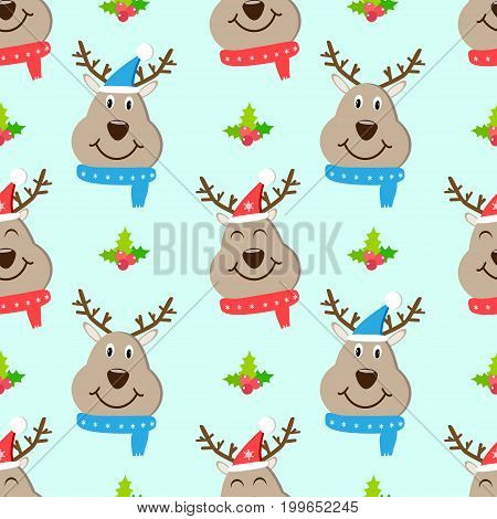 Head deer seamless pattern vector cute, toy, snowflake,