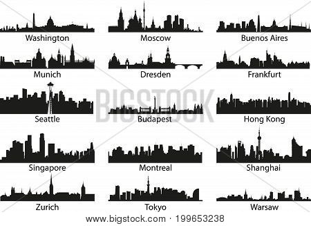 Vector silhouettes of the city's skyline isolated set illustration