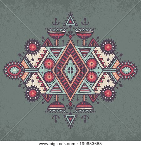 Tribal art boho hand drawn geometric pattern. Colorful vector ethnic print for fabric, cloth design, t-shirts, wrapping.