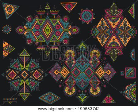 Set of vector tribal art boho hand drawn geometric pattern. Colorful vector ethnic print for fabric, cloth design, wrapping.