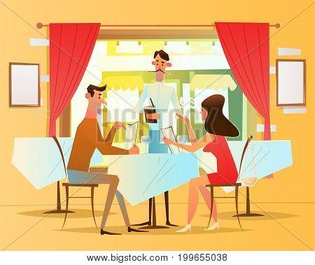 A romantic dinner in the restaurant. The waiter serves visitors .Vector illustration