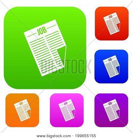 Newspaper with the headline Job set icon in different colors isolated vector illustration. Premium collection